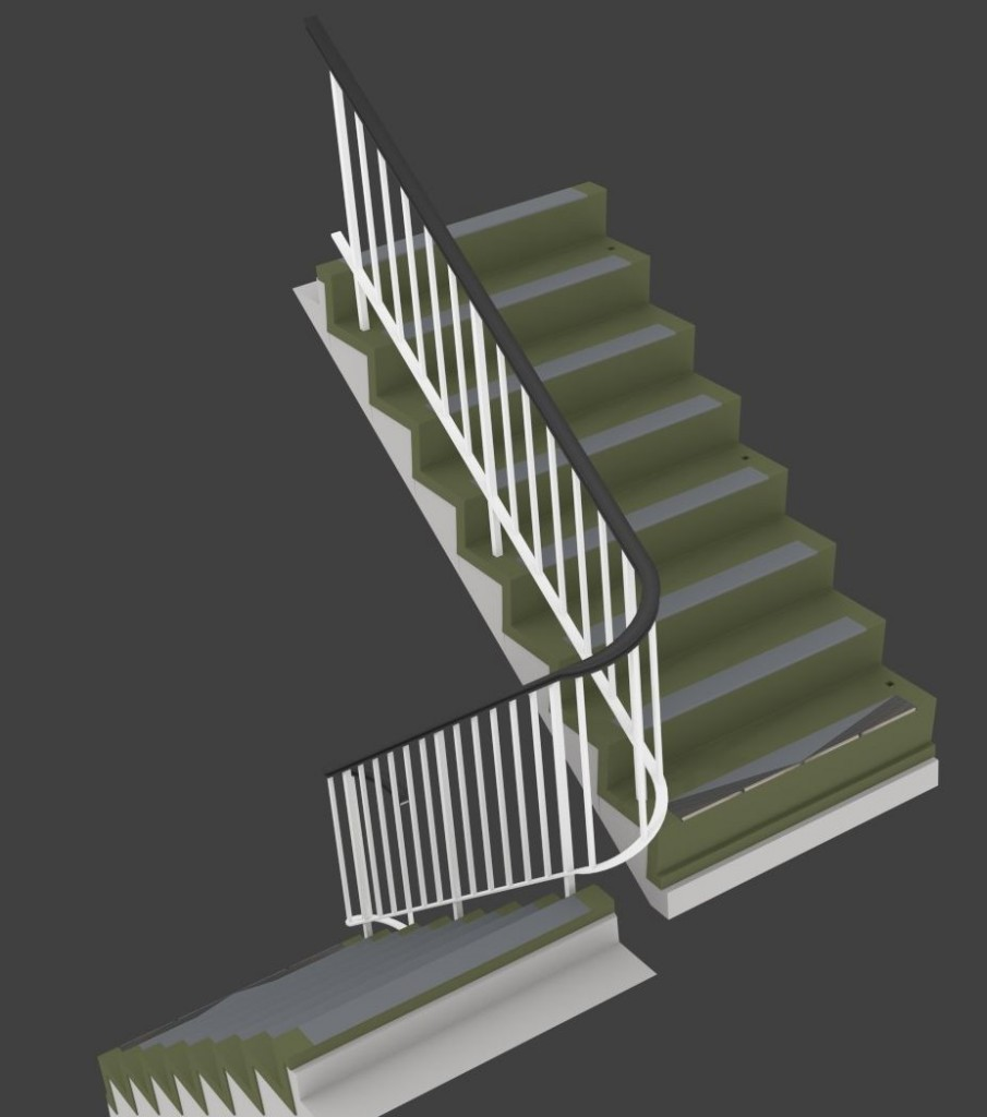 Stairs - a standard set with internal railings.