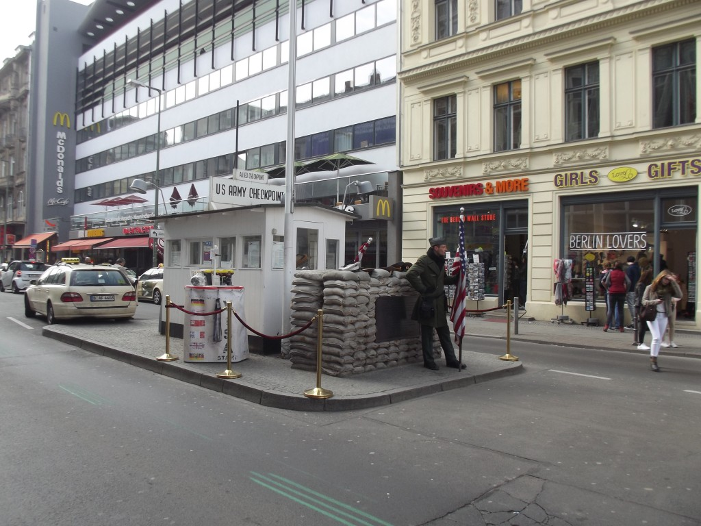Checkpoint Charlie, Friedrichstraβe. The guy dressed as a US soldier will pose for photos for a few Euros.