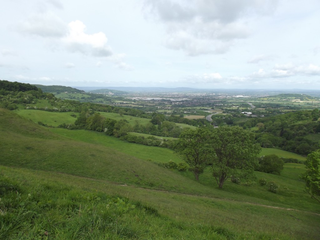 The view West towards Gloucestershire and beyond from the viewpoint at Birdlip, near Gloucester