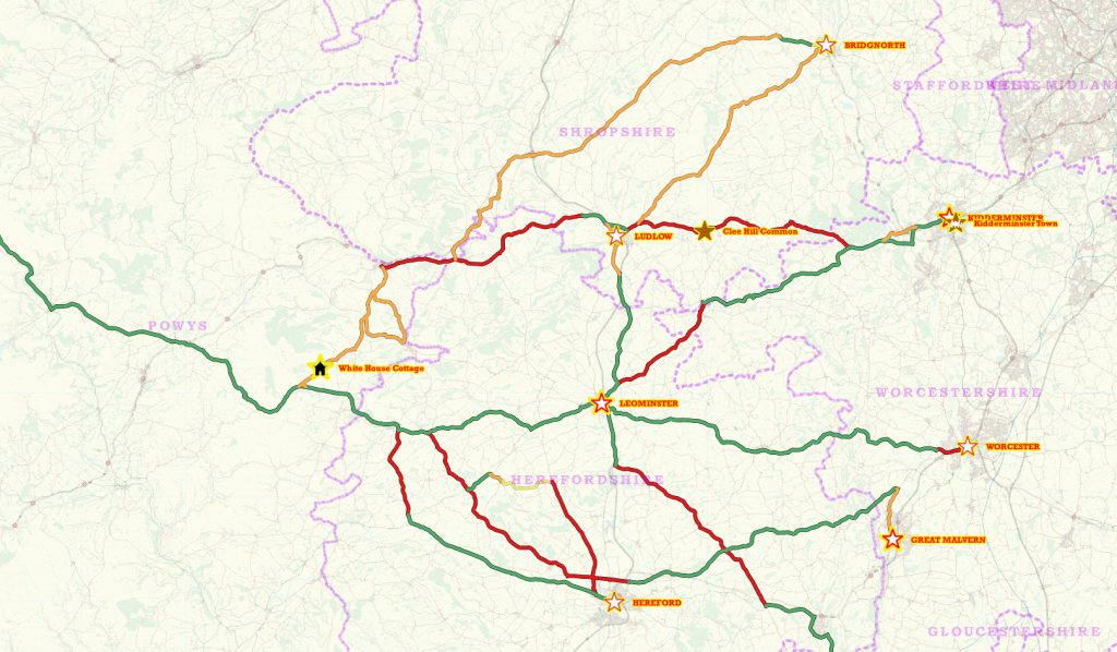 A map showing all the roads travelled and places visited on my holiday in May/June 2015 - East section