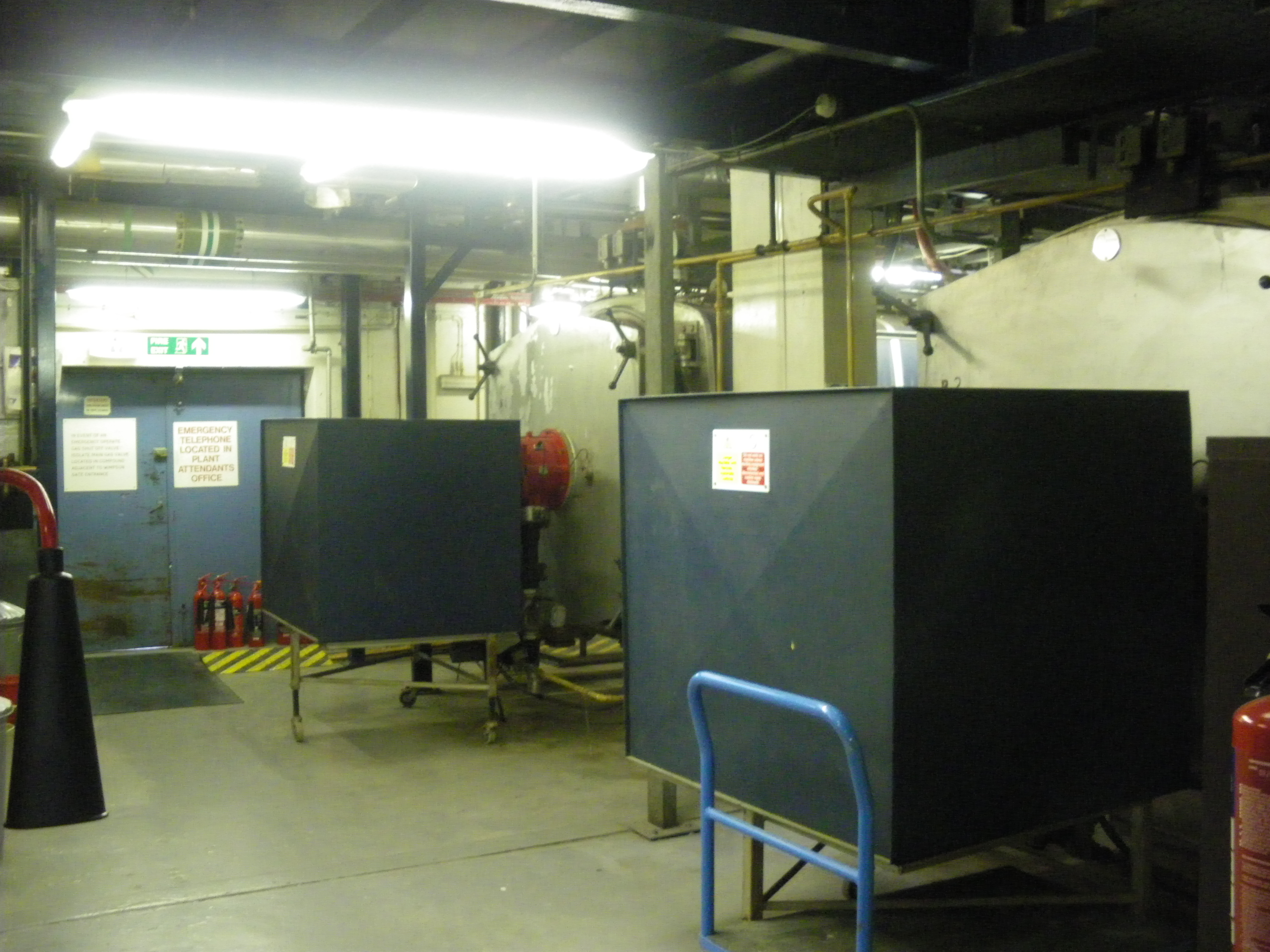 The two boilers and the main door to the Boiler House.