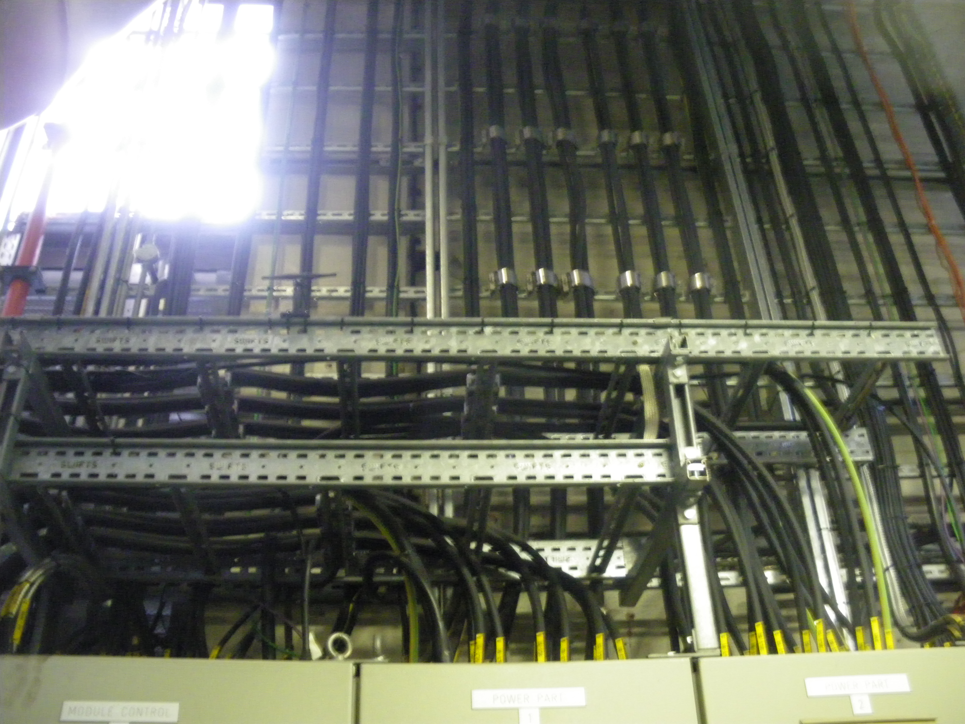 Wiring loom above CHP control panel
