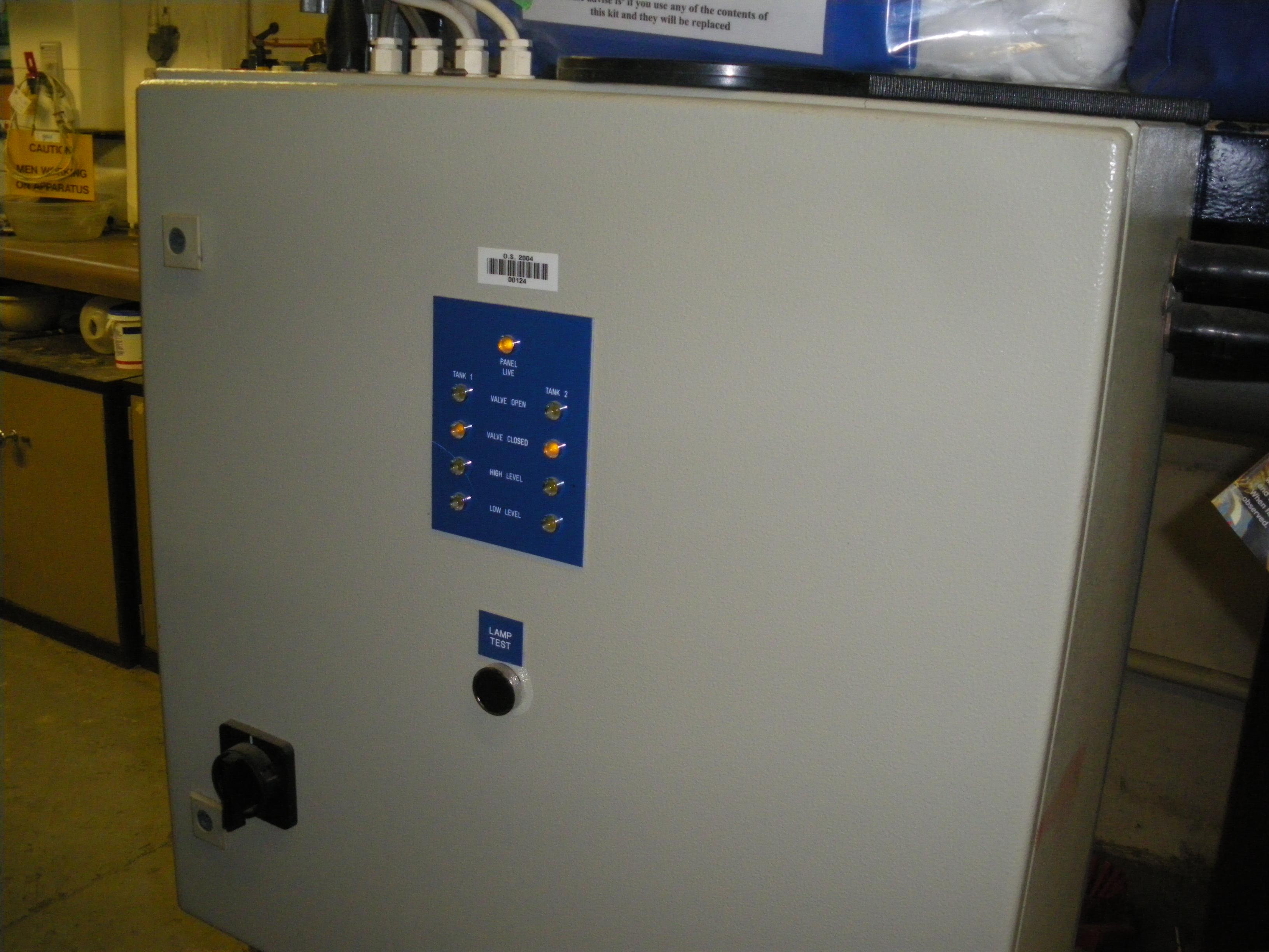 Top-up tank control panel