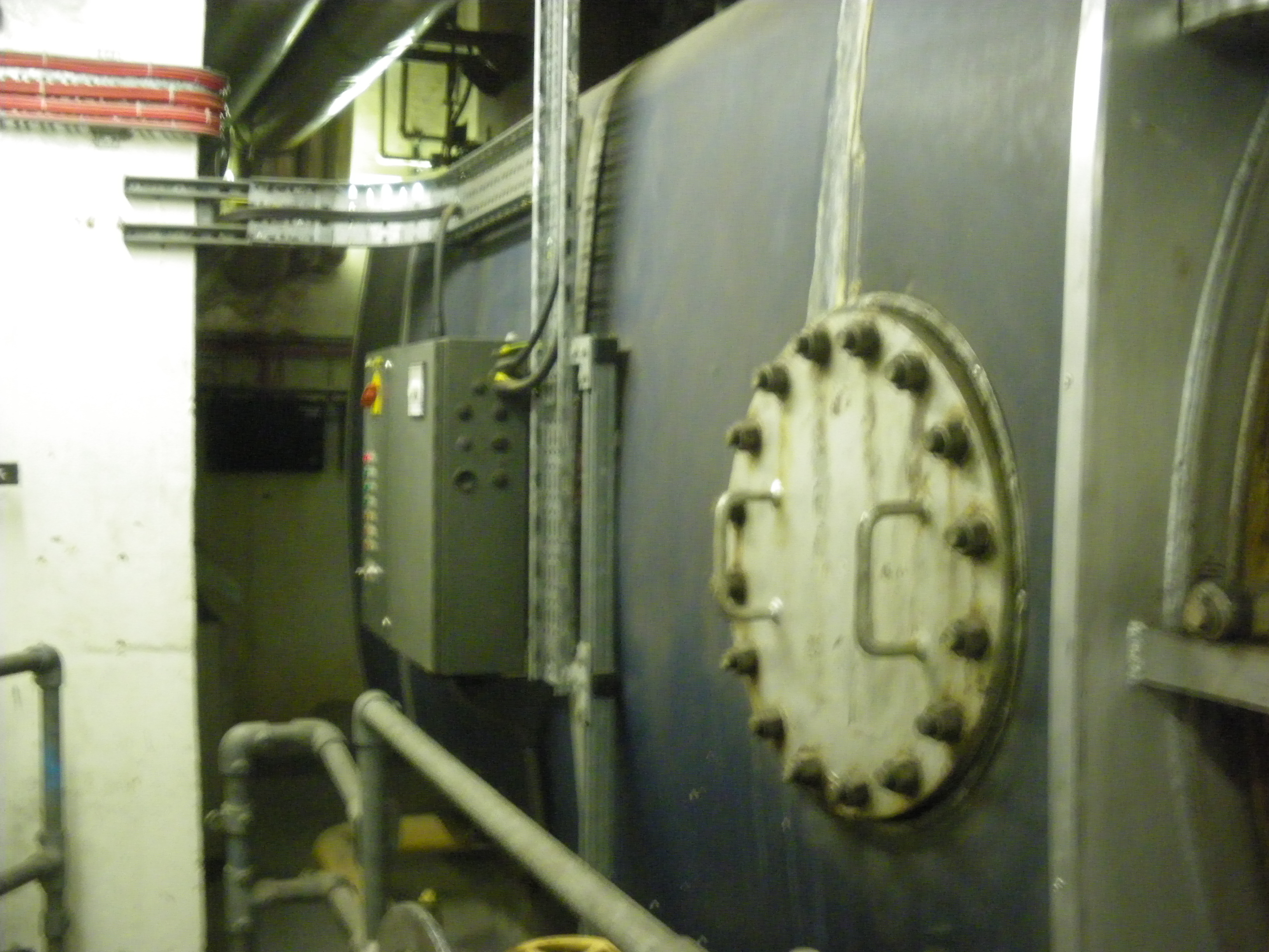 One of the two 1980s gas-fired boilers