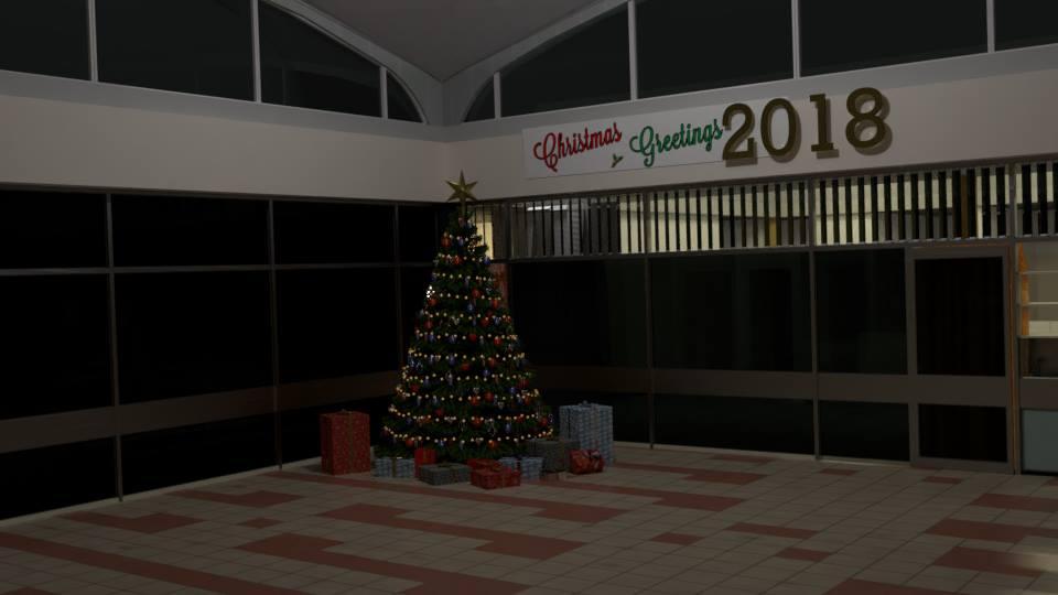 CGI scene of the Staff Restaurant facing the south corner.