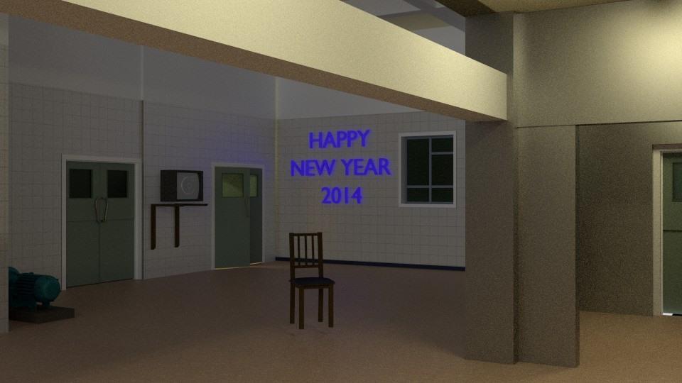 Happy New Year 2014 CGI scene
