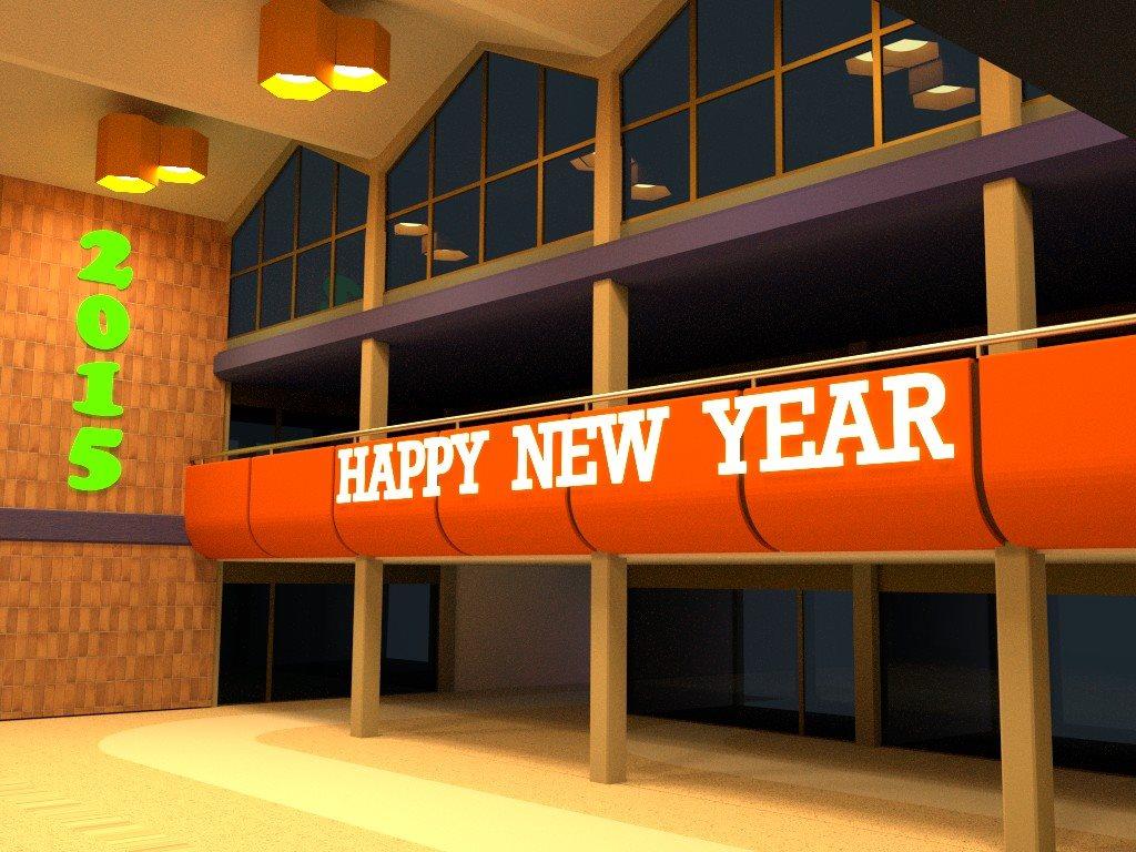 Happy New Year 2015 CGI scene