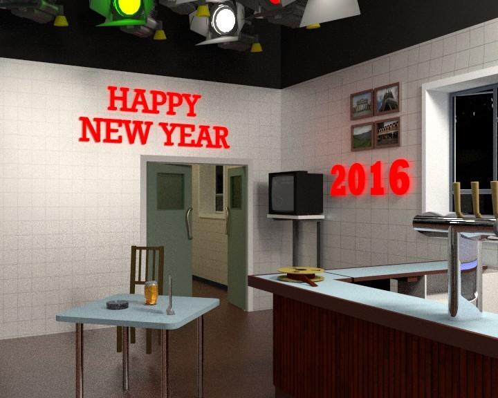 Happy New Year 2016 CGI scene