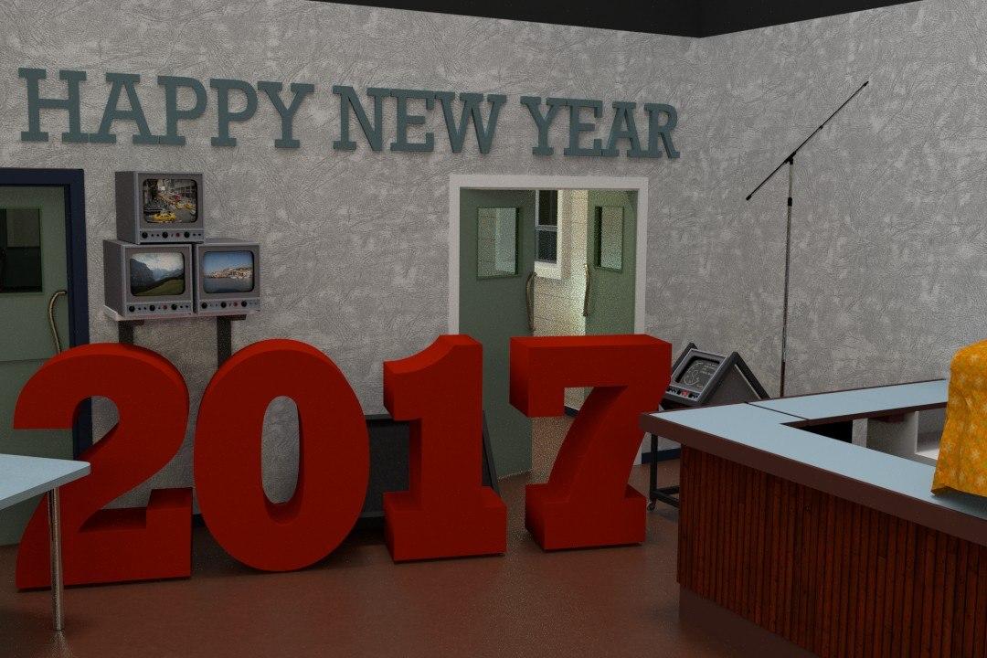 Happy New Year 2017 CGI scene