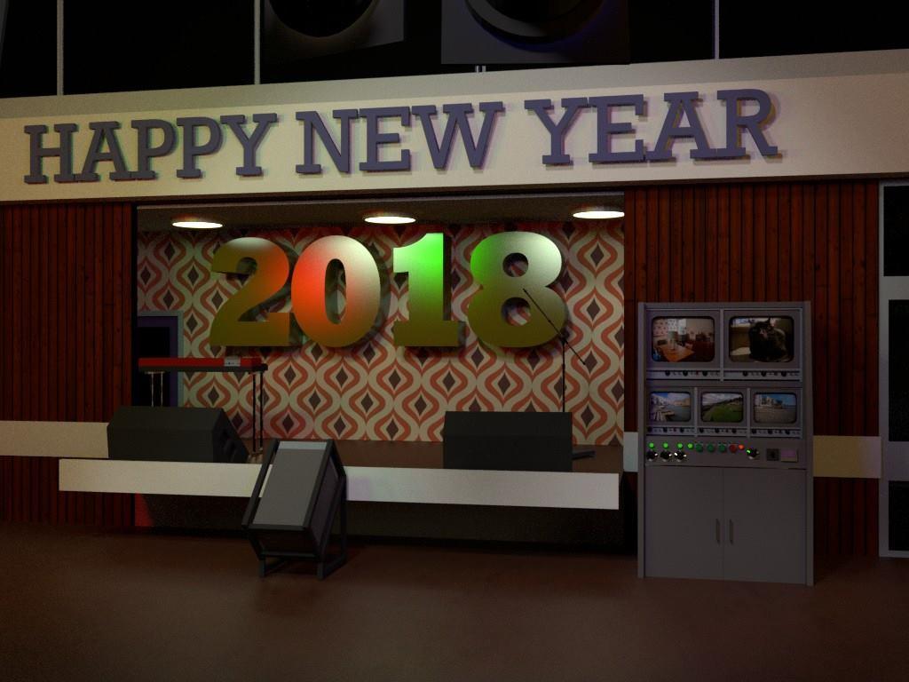 Happy New Year 2018 CGI scene