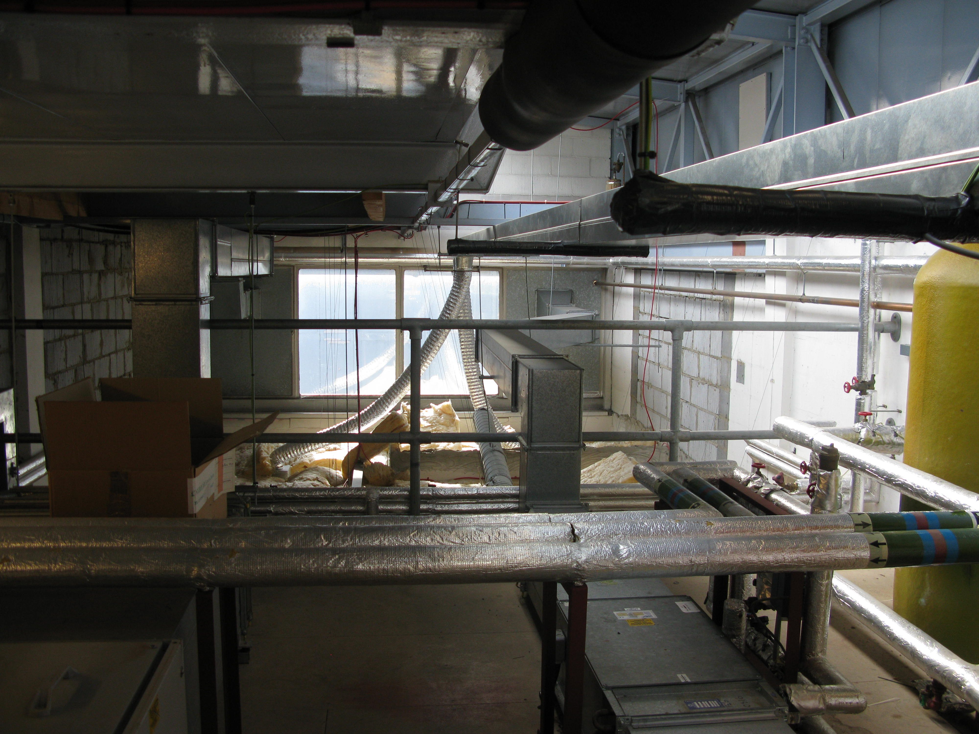 Services Block roof space above shower block