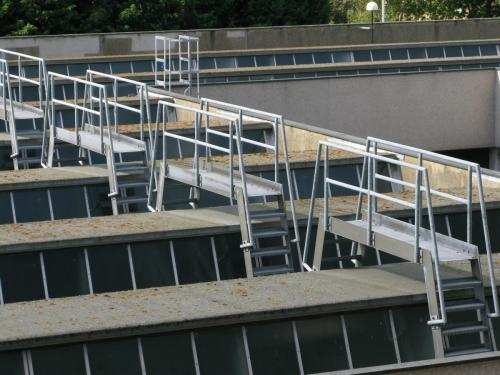 Roof of Services Block and the 'cat ladders'.